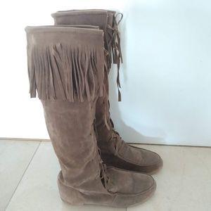 Boho style fringe boots